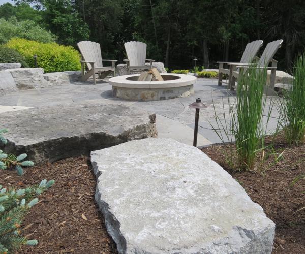 Landscaped Backyard with Precision Cut Jumbo Flagstone