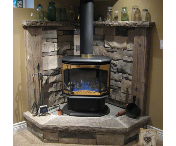 Drystack Gas Stove Hearth & Mantel with Rustic Timbers