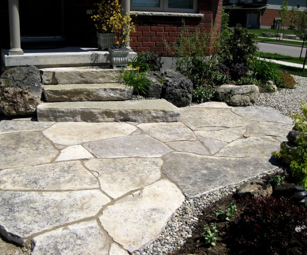 Landscaped Natural Stone Steps with Jumbo Flagstone