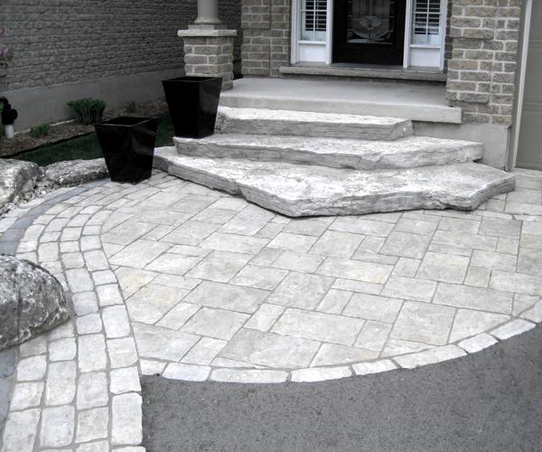 Paving Stone Walk with Jumbo Stone Steps