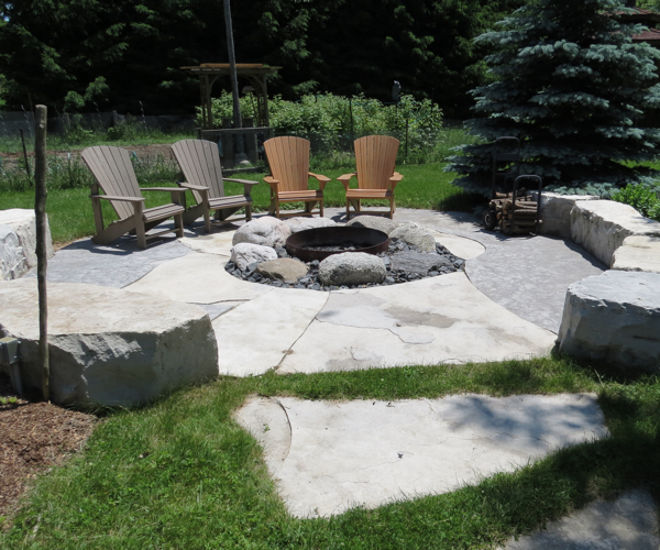 Granite Boulder FirePit with Jumbo Flagstone Surround
