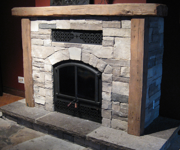 Drystack Woodburning Fireplace with Hearth & Mantel with Rustic Timbers