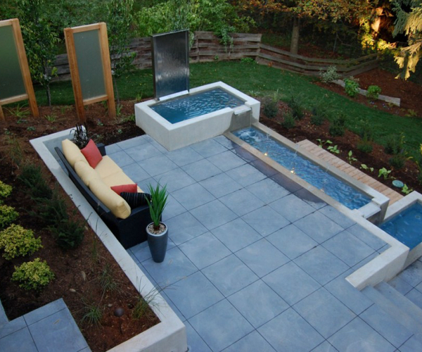 Modern Patio with Water Feature