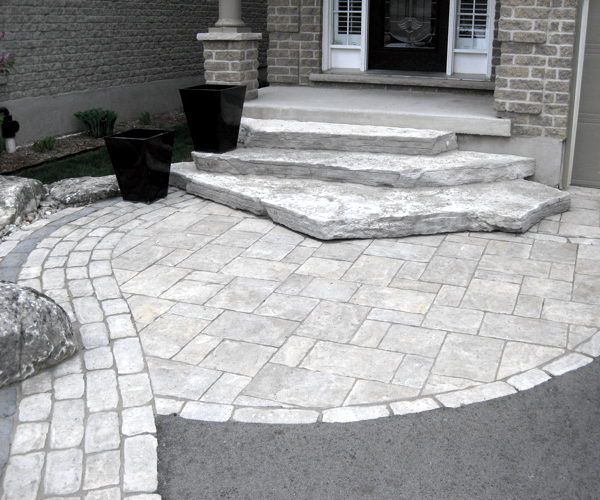 Paving Stone Walk with Jumbo Stone Steps